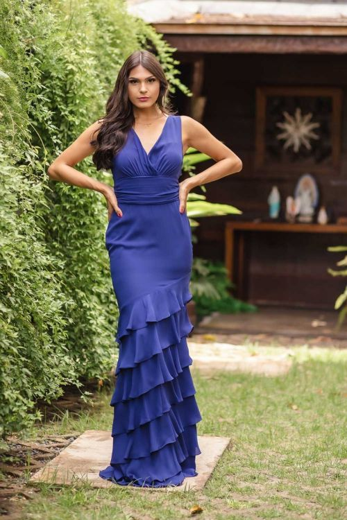 Vestido Longo Saia Babados - Azul