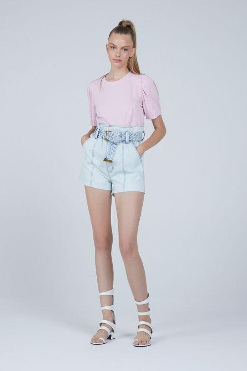 Shorts Curto Amila Jeans Claro - Andrea Bogosian