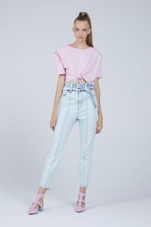 Calça Reta com Cinto Arely Jeans Claro - Andrea Bogosian