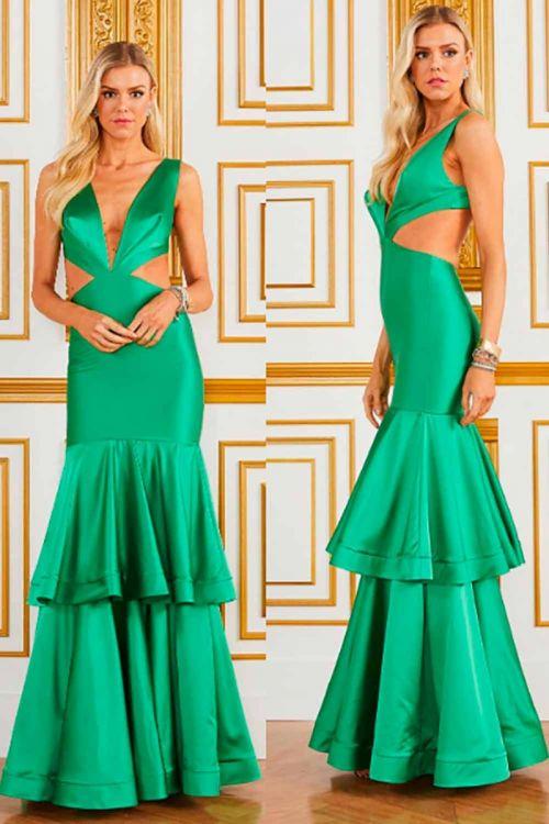 Vestido Longo Acetinado com Recortes - Verde - Fabulous Agilitá