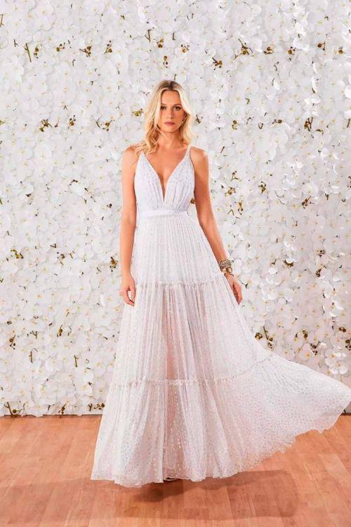Vestido Longo Ana Branco Poá Dourado - Fabulous Agilitá