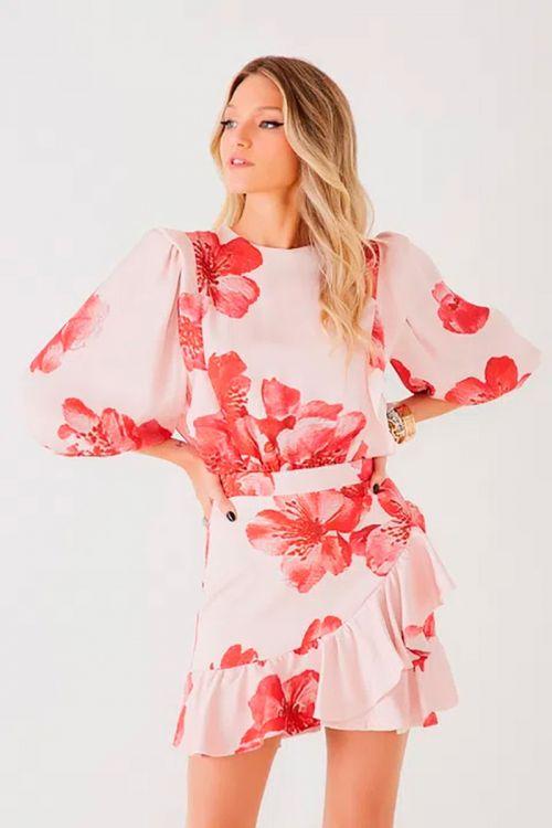 Vestido Curto Ariana Pink Flower - Fabulous