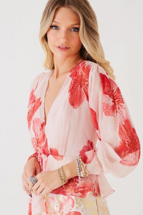 Vestido Seda Curto Lorena Pink Flower - Fabulous