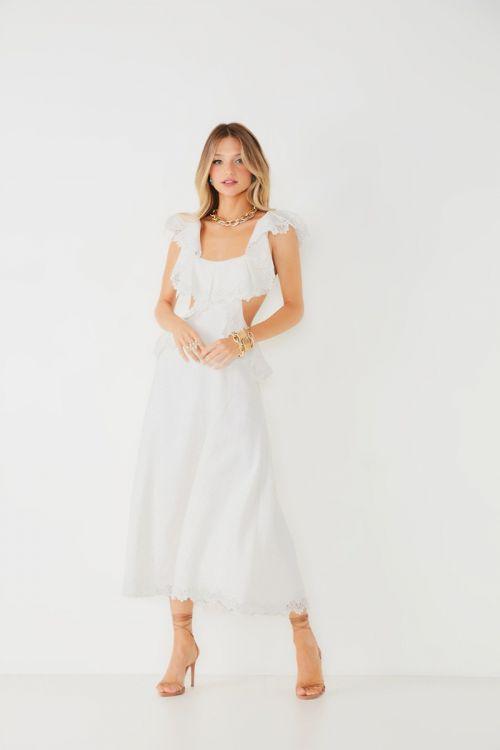 Vestido Midi Linho Isabela Off White - Fabulous Agilitá