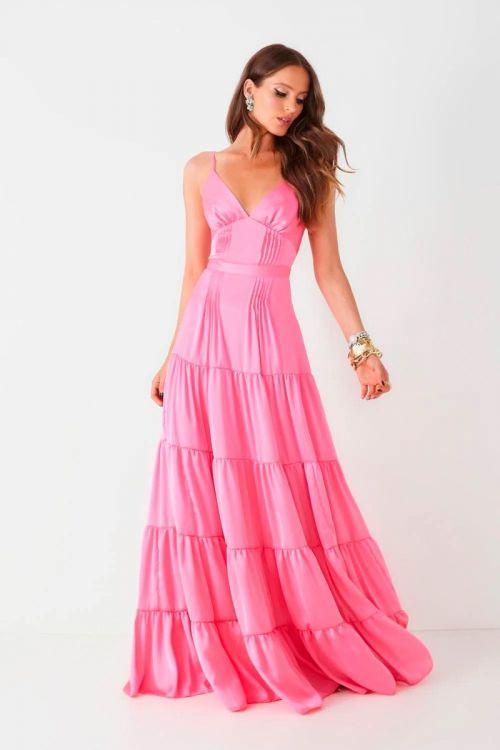 Vestido Longo Alça Fina Vitoria Rosa Chiclete - Fabulous Agilitá
