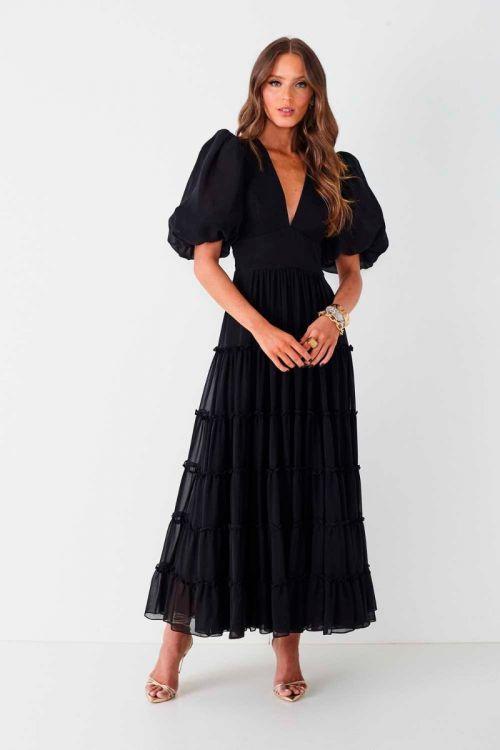 Vestido Midi Mangas Bufantes Vania Preto - Fabulous Agilitá
