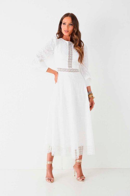 Vestido Midi em Lasie Lilian Off White - Fabulous Agilitá