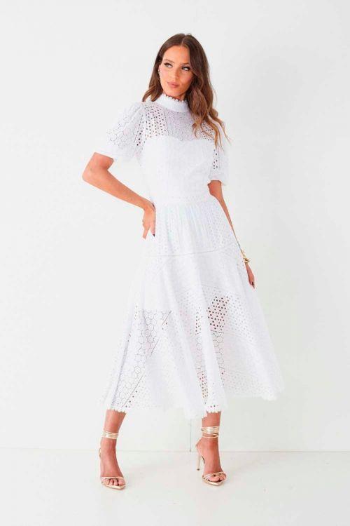 Vestido Midi em Laise Rita Off White - Fabulous Agilitá