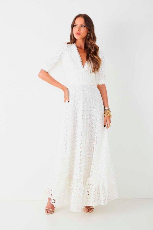 Vestido Midi em Guipir Maria Fernanda Branco - Fabulous Agilitá