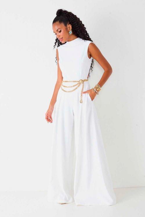 Macacão Pantalona Marcia Branco - Fabulous