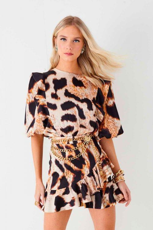 Vestido Curto Ariana Onça Camel - Fabulous Agilitá