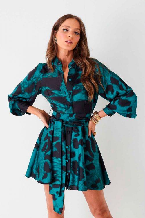 Vestido Curto com Mangas Ester Onça Esmeralda - Fabulous Agilitá