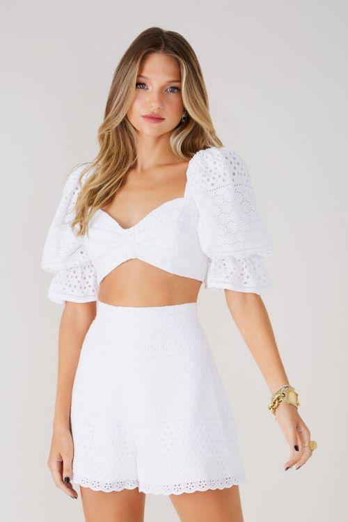 Conjunto Shorts e Cropped Laise Larissa Branco - Fabulous