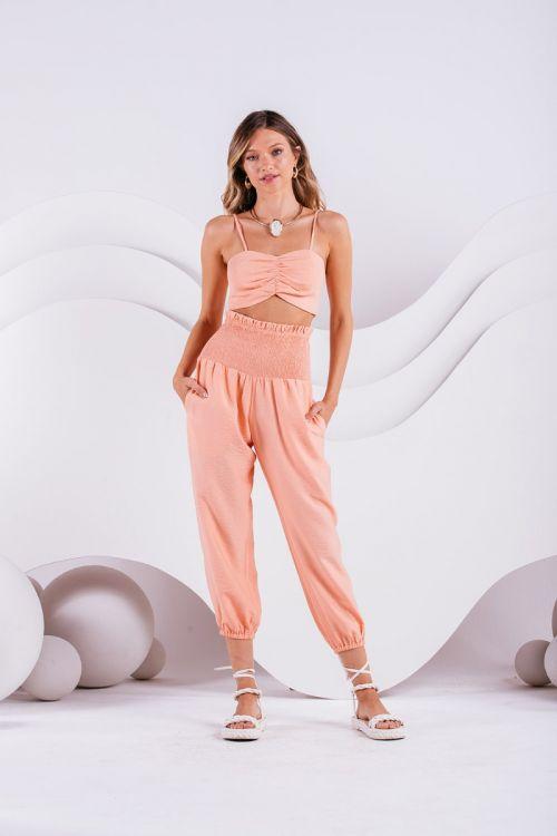 Conjunto Cropped e Calça Carpe Tangerina - Charth
