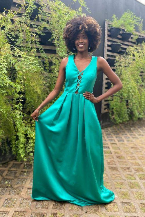 Vestido Longo decote Trançado - Verde Claro