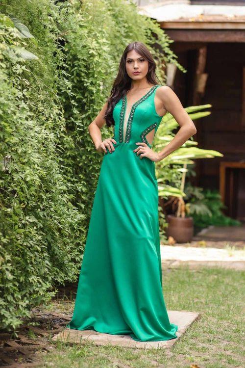Vestido Longo Bordado com Recortes - Verde