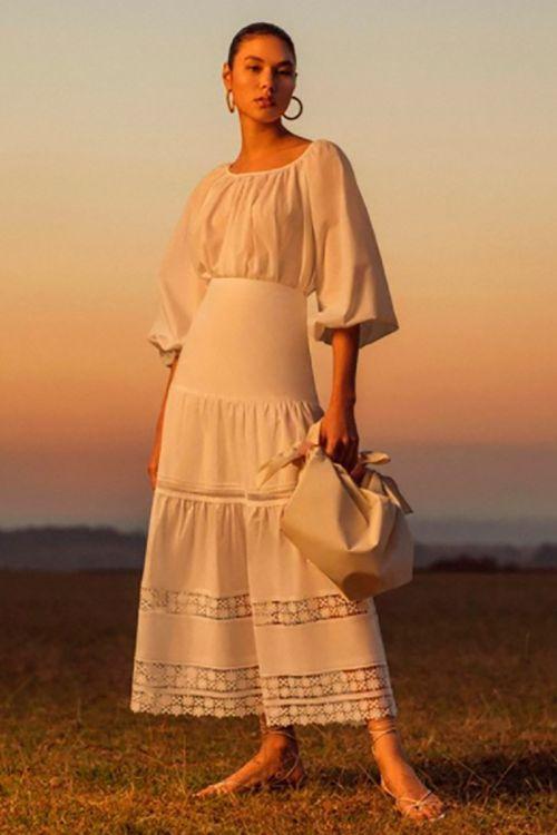 Saia Midi Renda Guipir Dora - Off White