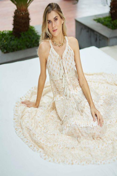 Vestido Longo Floral - Laranja