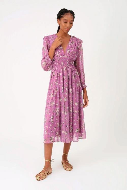 Vestido Midi Floral Donatela - Lilás