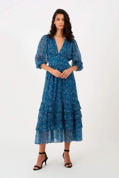 Vestido Midi Floral com Fios Lurex Bianc - Azul