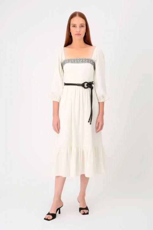 Vestido Midi Linho Bordado Princess - Off White