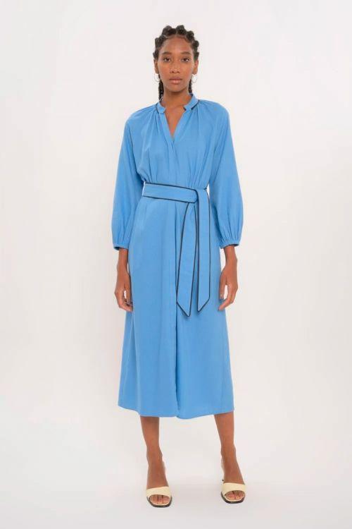 Vestido Midi Manga Longa Linho Ingrid - Azul