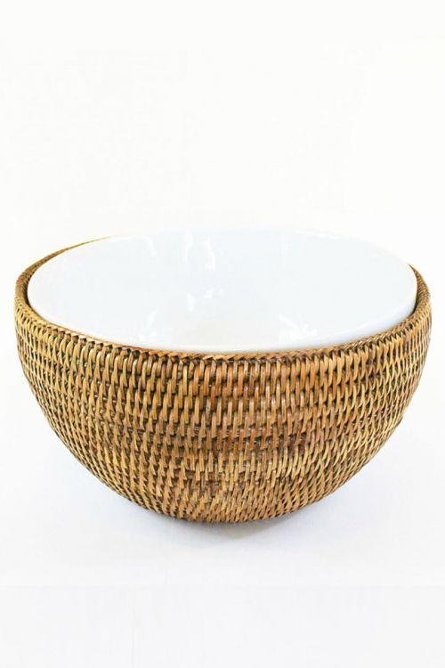 Bowl de porcelana 16,3 cm com suporte em rattan Maya