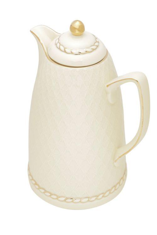 Garrafa Termica de Porcelana Renda Creme