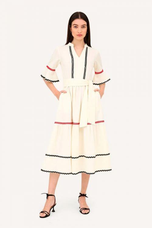 Vestido Midi Manga Sino Sianinha Zafari - Off White