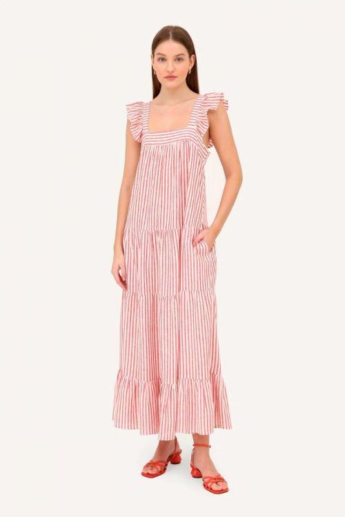 Vestido Midi Listrado Samantha - Vermelho / Off White