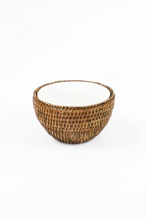 Bowl Porcelana Maya 13 cm com Suporte em rattan