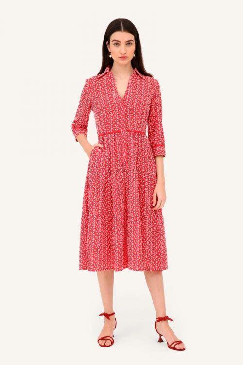 Vestido Midi Evasê Bordado Kate - Vermelho
