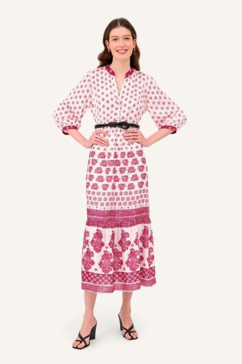 Vestido Midi em Cetim Maquinetado Dafne - Estampado
