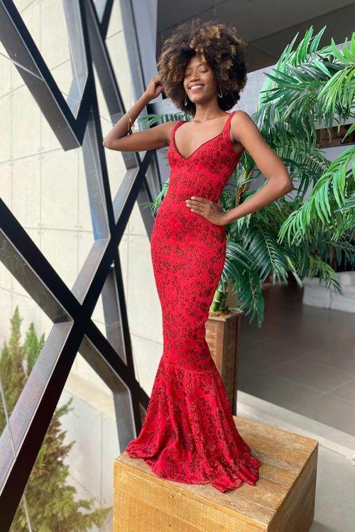Vestido Longo Sereia em Lurex - Vermelho