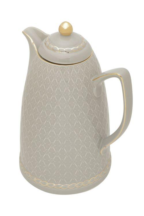 Garrafa Termica de Porcelana Renda Cinza