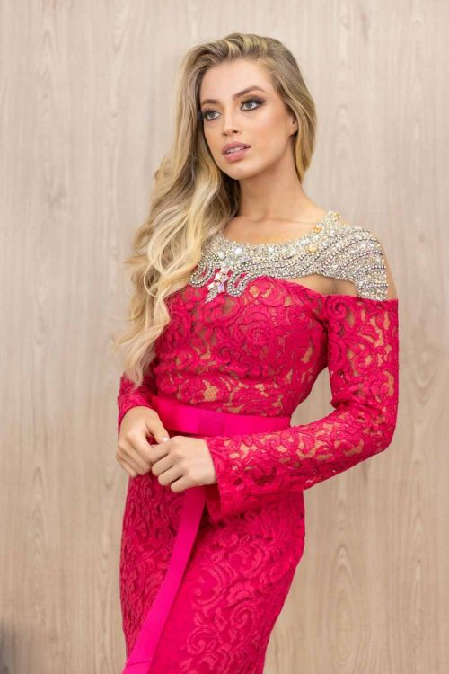 Vestido Longo de Renda Manga Longa - Rosa