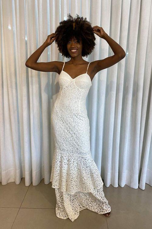 Vestido Longo Sereia Amélia Renda - Branco