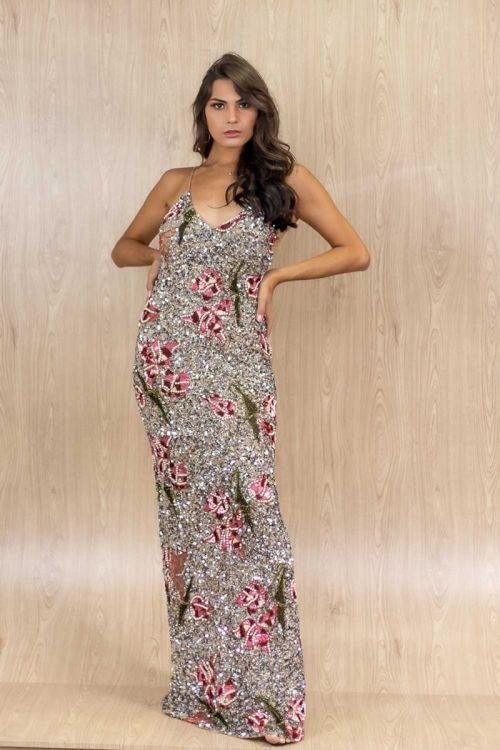 Vestido Longo Bordado Flores - Dourado - Patricia Bonaldi