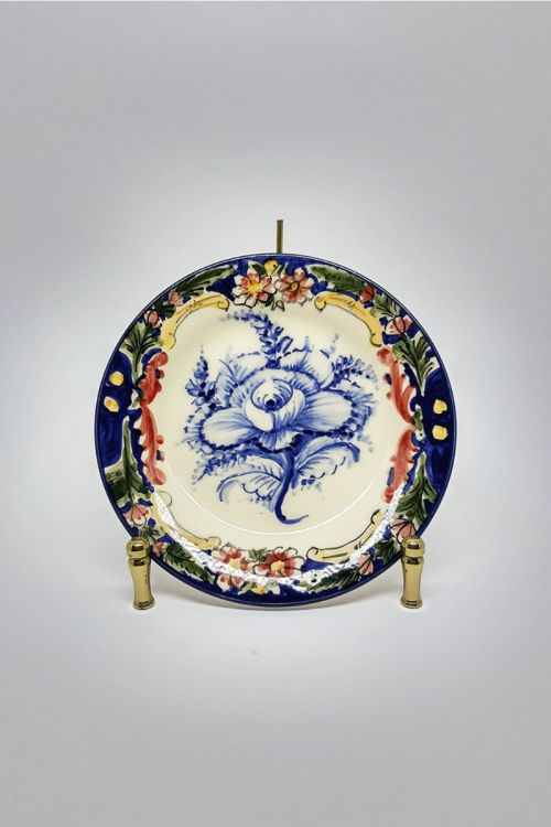 Prato de Sobremesa em cerâmica pintado a mão - Madalena