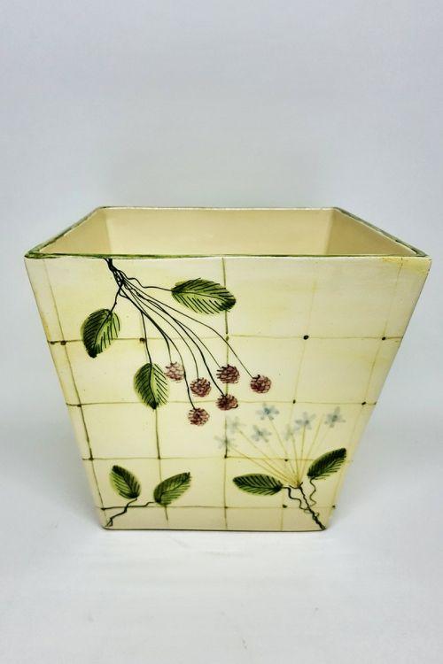 Vaso quadrado em cerâmica pintado a mão G - Framboise