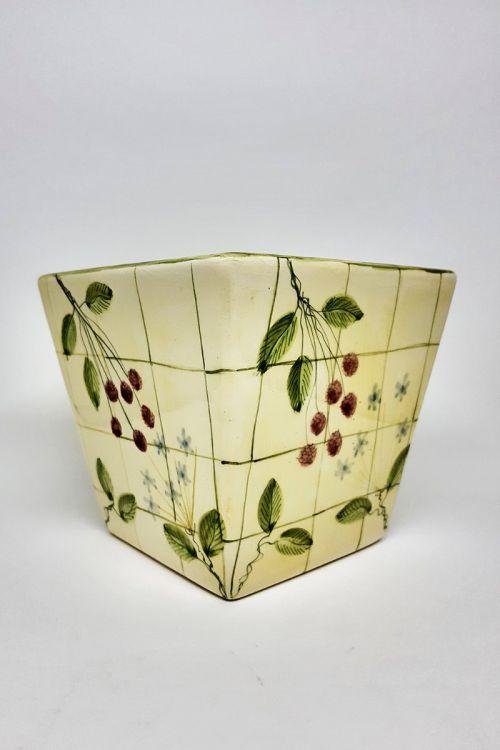 Vaso quadrado em cerâmica pintado a mão M - Framboise