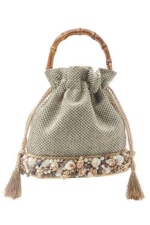 Bolsa em tecido com Conchas