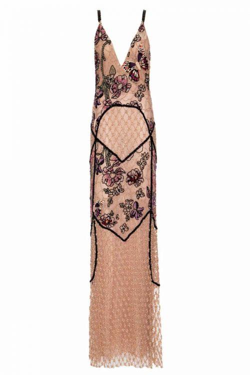 Vestido Longo Bordado Borboleta - Dourado -Patricia Bonaldi