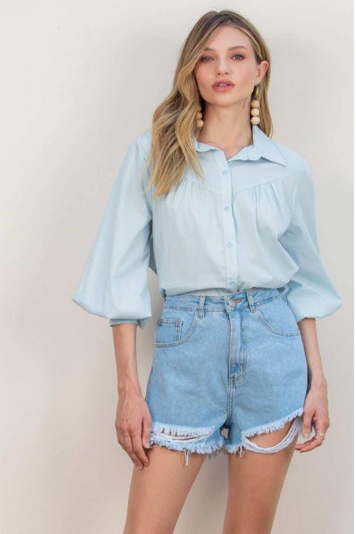 Camisa Rosana Tricoline - Azul Ice