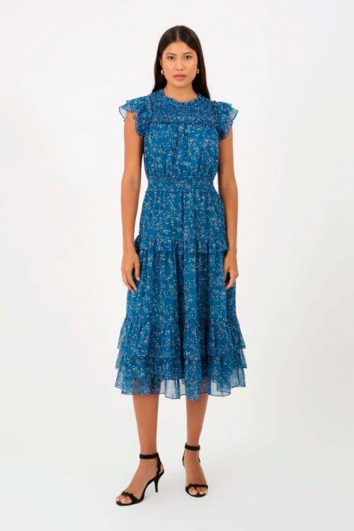 Vestido Midi Floral Babados Cecília - Azul