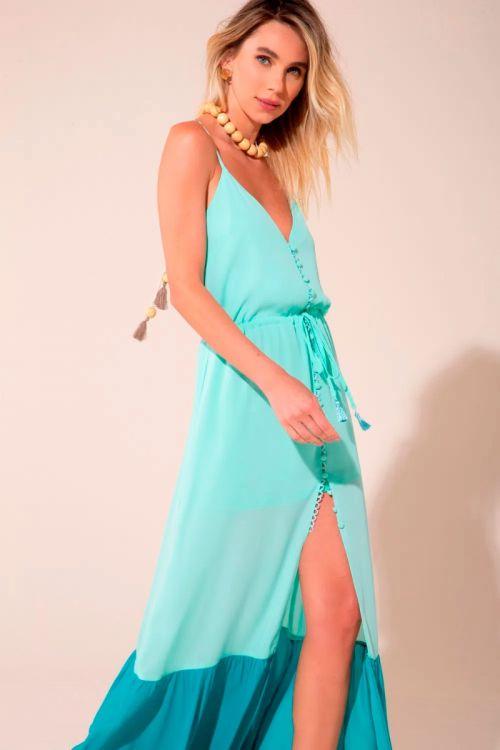 Vestido Longo Bicolor Alice - Acqua