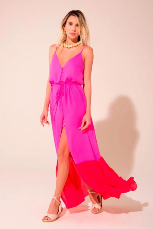 Vestido Longo Bicolor Alice - Pink