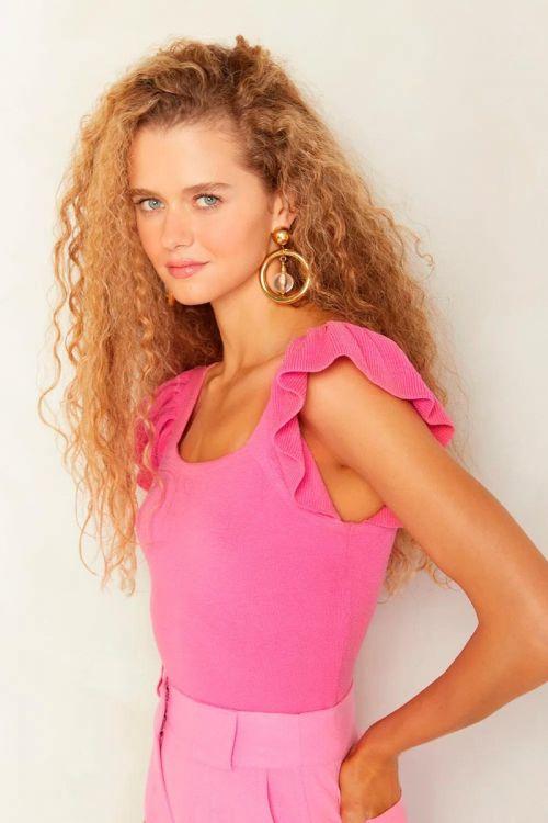 Blusa Tricot Babados Mayra Rosa Pink - Le Blog