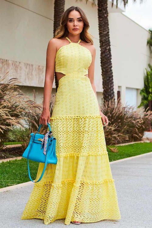 Vestido Longo Vitória - Amarelo Luz
