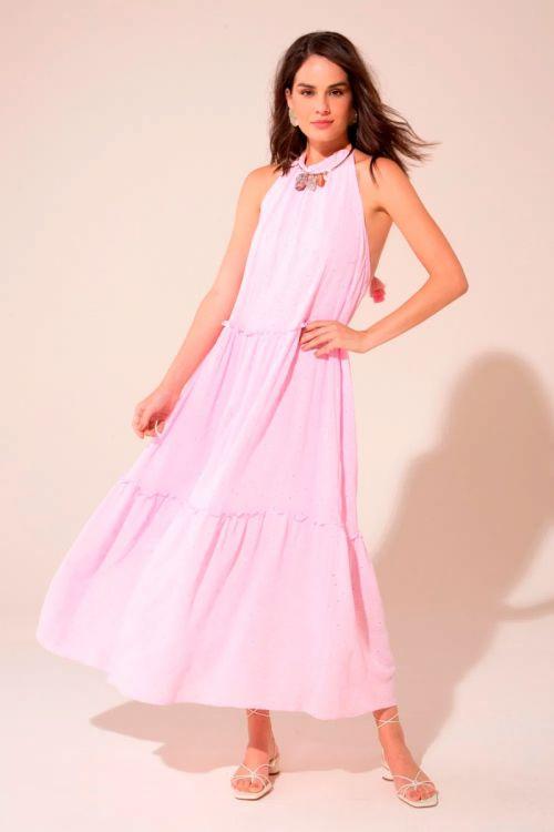 Vestido Longo Frente Única Amora - Rosa